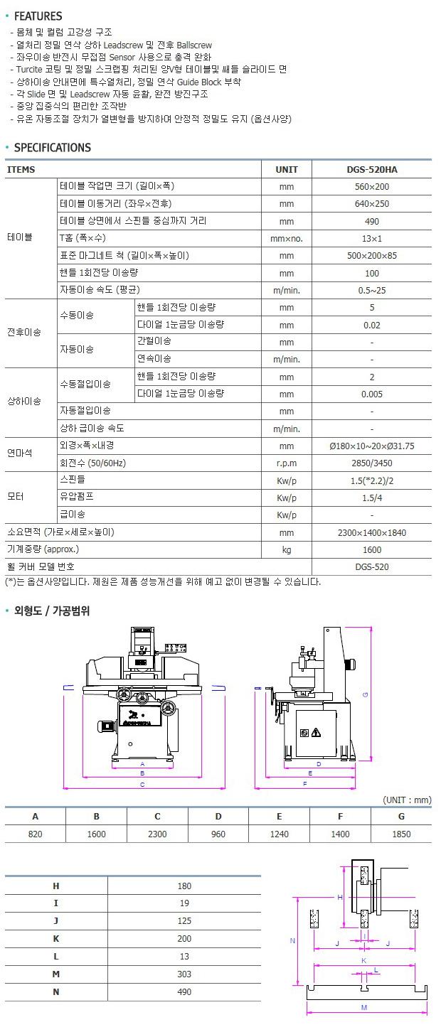 대산기계공업(주) 초정밀 성형 연삭기 (DGS-520 Series) DGS-520HA 2