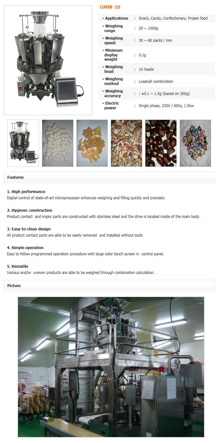 GREEN PACK Automatic Multihead Weigher GMW-10