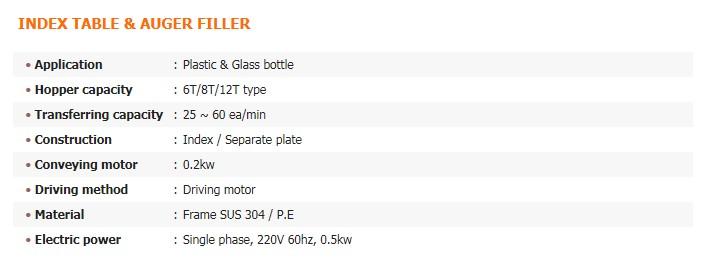GREEN PACK Index Table & Auger Filler