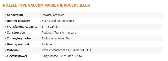 GREEN PACK Nozzle Type Vaccum Packer & Auger Filler