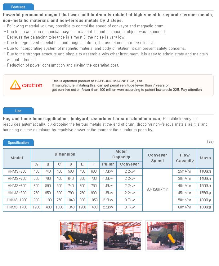Haesung Magnet Aluminum Separator HNMS-Series
