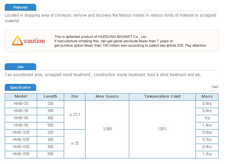 Haesung Magnet Magnet Bar HMB-Series