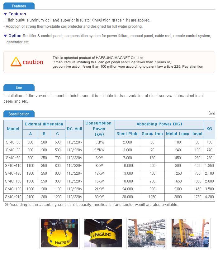 Haesung Magnet Scrap magnet for Crane SMC-Series