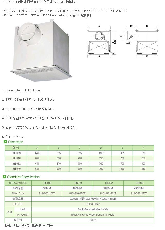 (주)한솔테크 HEPA Filter Unit HS 009/018/032/040