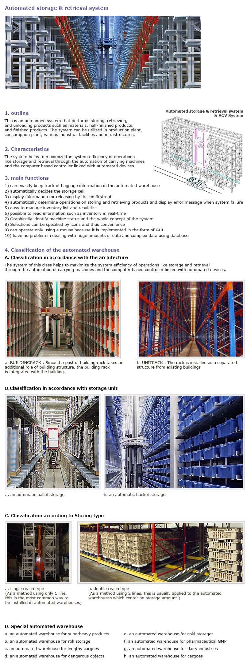 HAN SUNG WELL TECH Automated storage & Retrieval system
