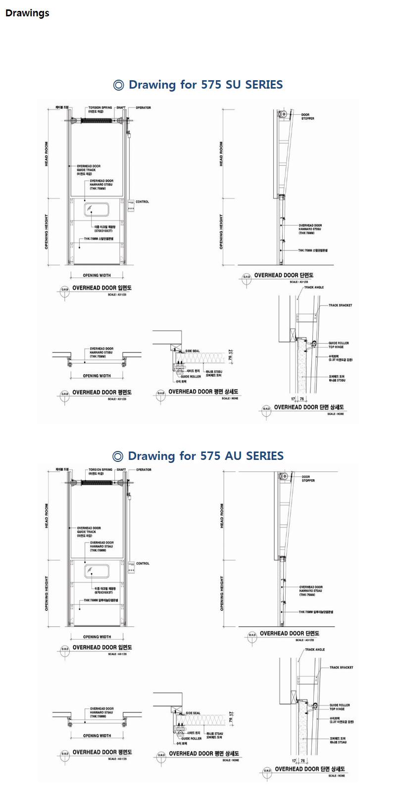 HANA DOOR Steel/AL. Type Overhead Door 575SU/AU 2