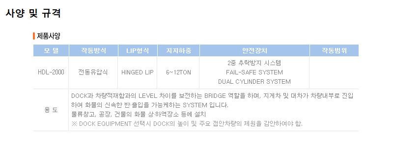 하나기공 Hinged Lip type Dock Leveler HDL-2000 4