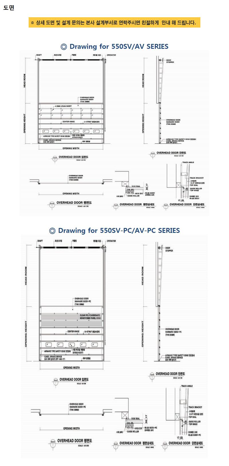 하나기공 콤비타입 오버헤드도어 550SV/AV 5