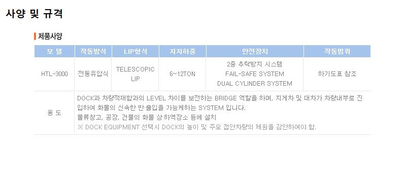 하나기공 Telescopic Lip type Dock Leveler HTL-3000 4