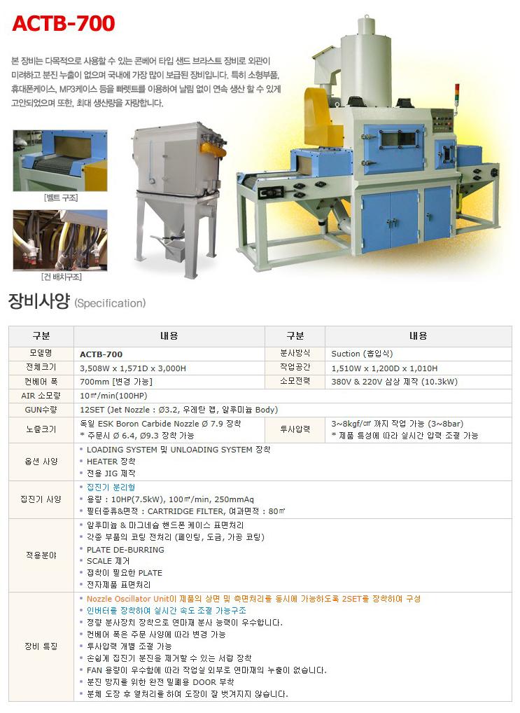 한국브라스트(주) 콘베어 타입 샌드 브라스트 장비 ACTB-700