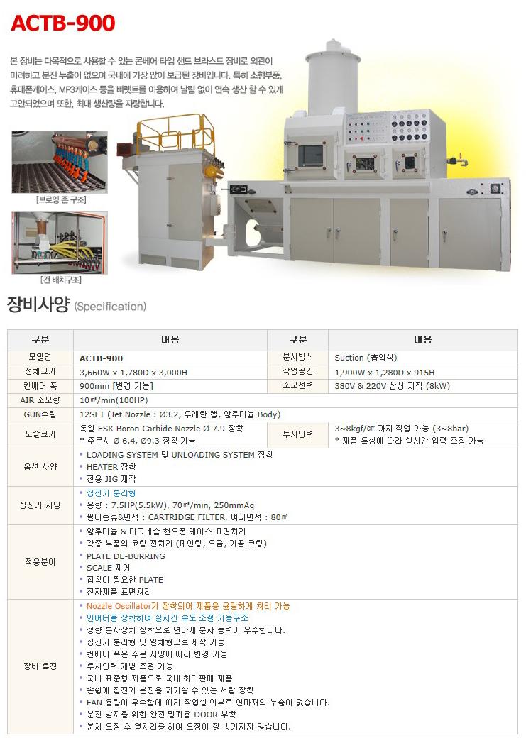 한국브라스트(주) 콘베어 타입 샌드 브라스트 장비 ACTB-900