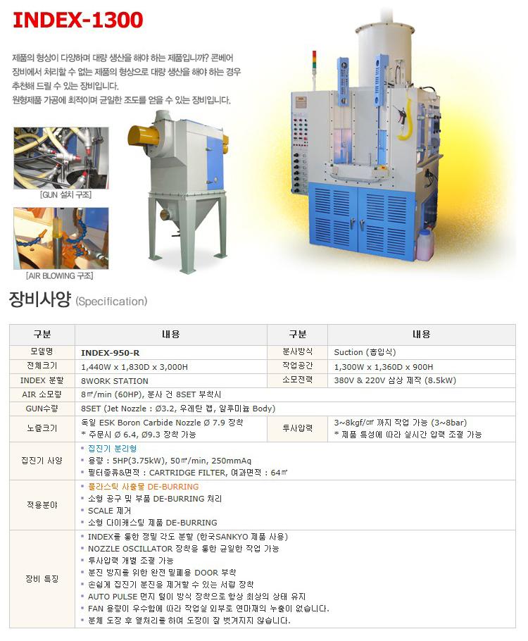 한국브라스트(주) 인덱스 장비 INDEX-1300
