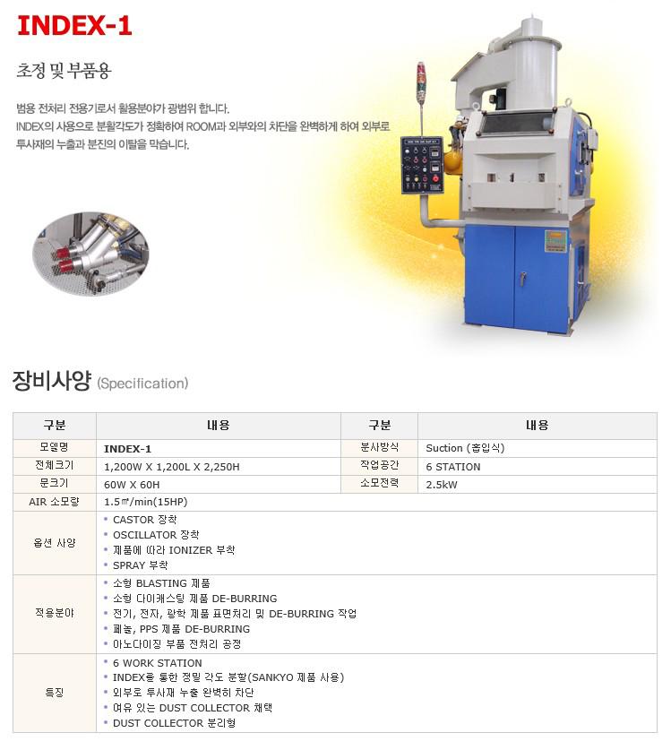한국브라스트(주) 범용 전처리 전용기 (초정 및 부품용) INDEX-1
