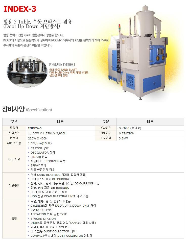 한국브라스트(주) 범용 전처리 전용기 (범용 5 Table, 수동 브라스트 겸용) INDEX-3