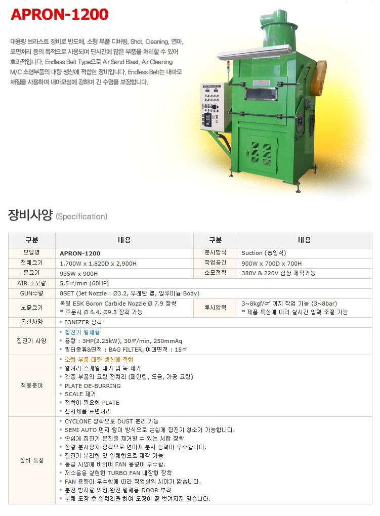 한국브라스트(주) 대용량 브라스트 장비 APRON-1200