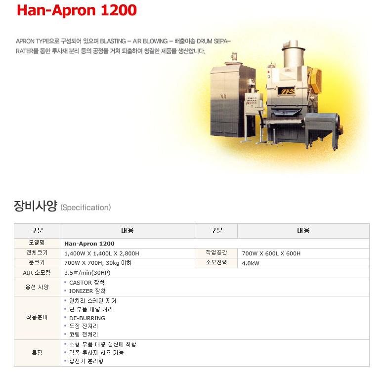 한국브라스트(주) 에프론장비 (Apron Type) Han-Apron 1200