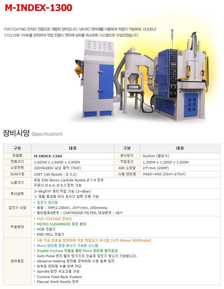 한국브라스트(주) 마이크로 블라스트기 M-INDEX-1300