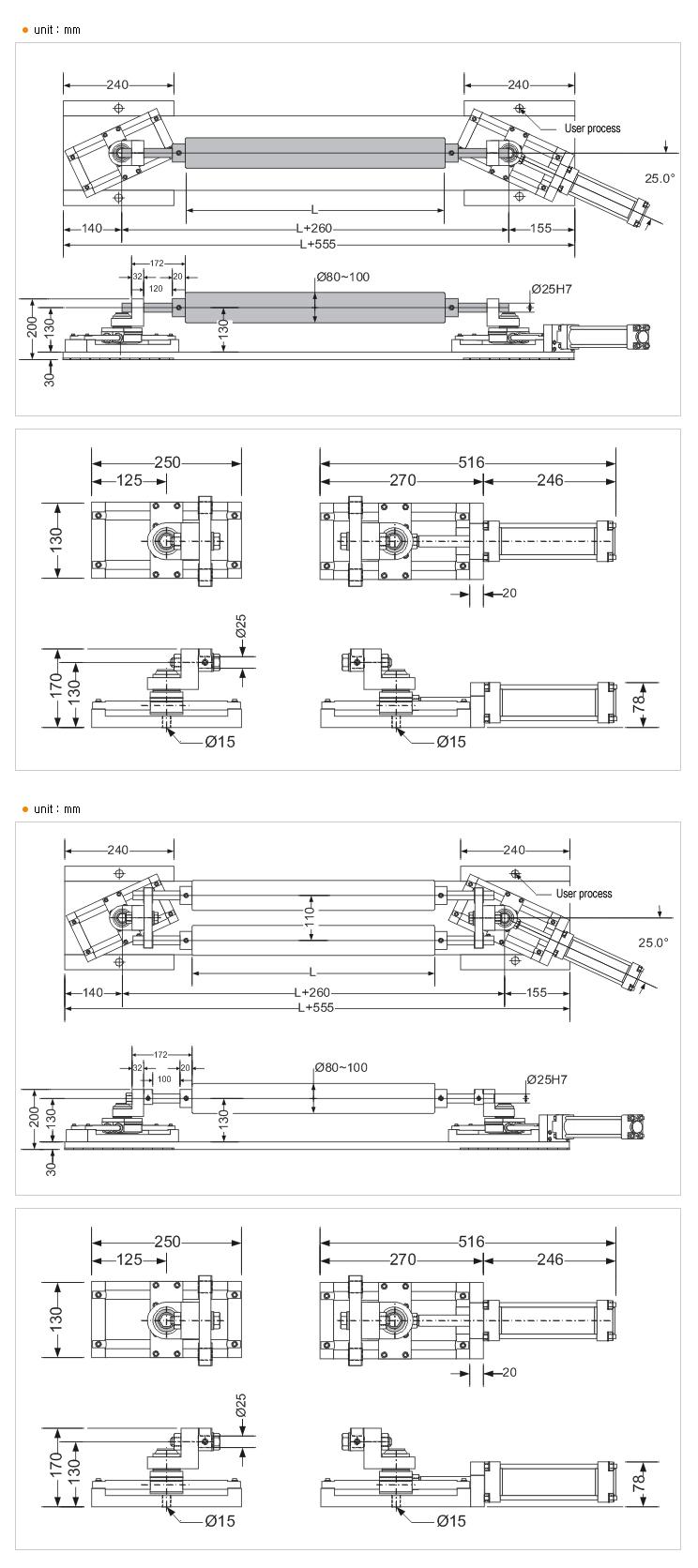 HANMI ELECTRONICS Hydraulic Actuator (END PIVOT TYPE  (S-16 SINGLE ROLL/DOUBLE ROLL))