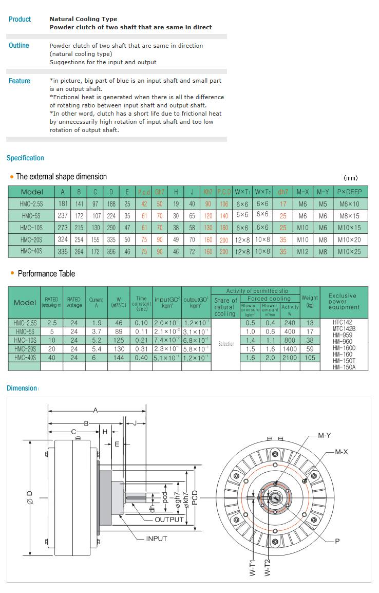 HANMI ELECTRONICS Natural Cooling Type Powder Clutch HMC-series
