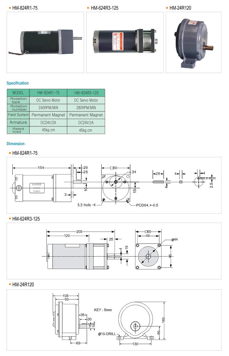 HANMI ELECTRONICS Electromotive Actuator (Rotary type) HM-824R1-75/624R3-125