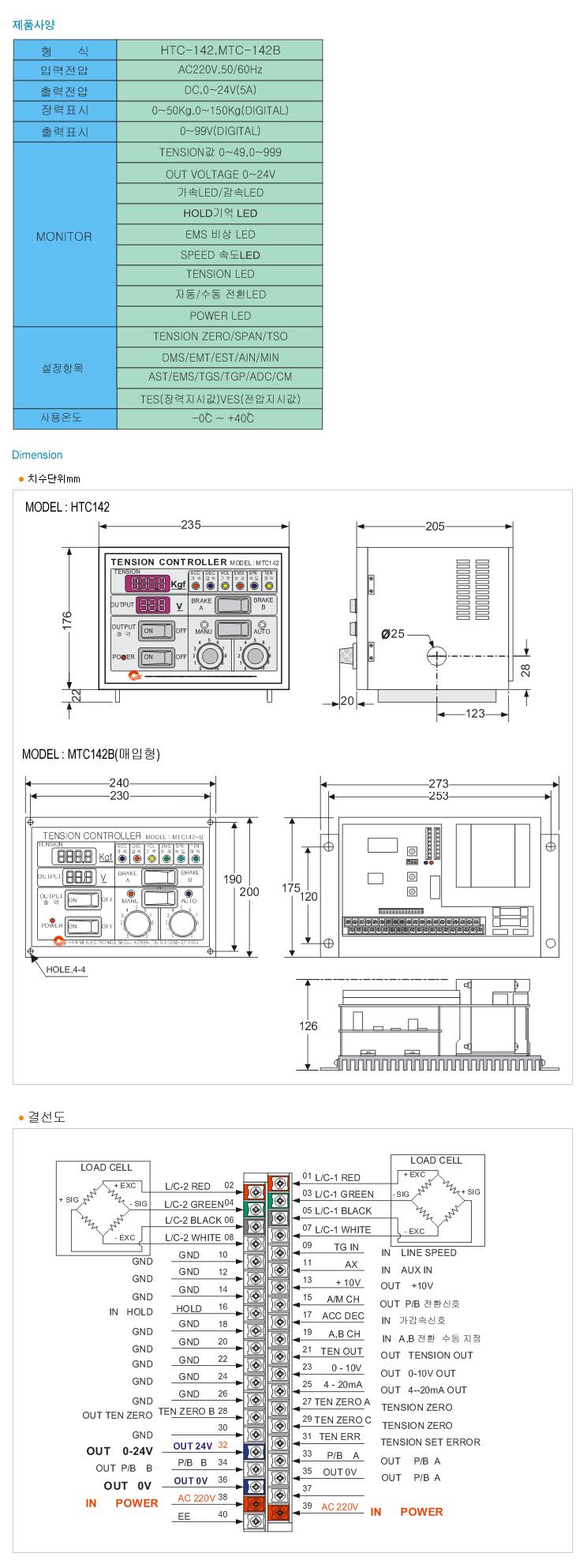 (주)한미전자제어 Auto Tension Control HTC142, MTC142B 1