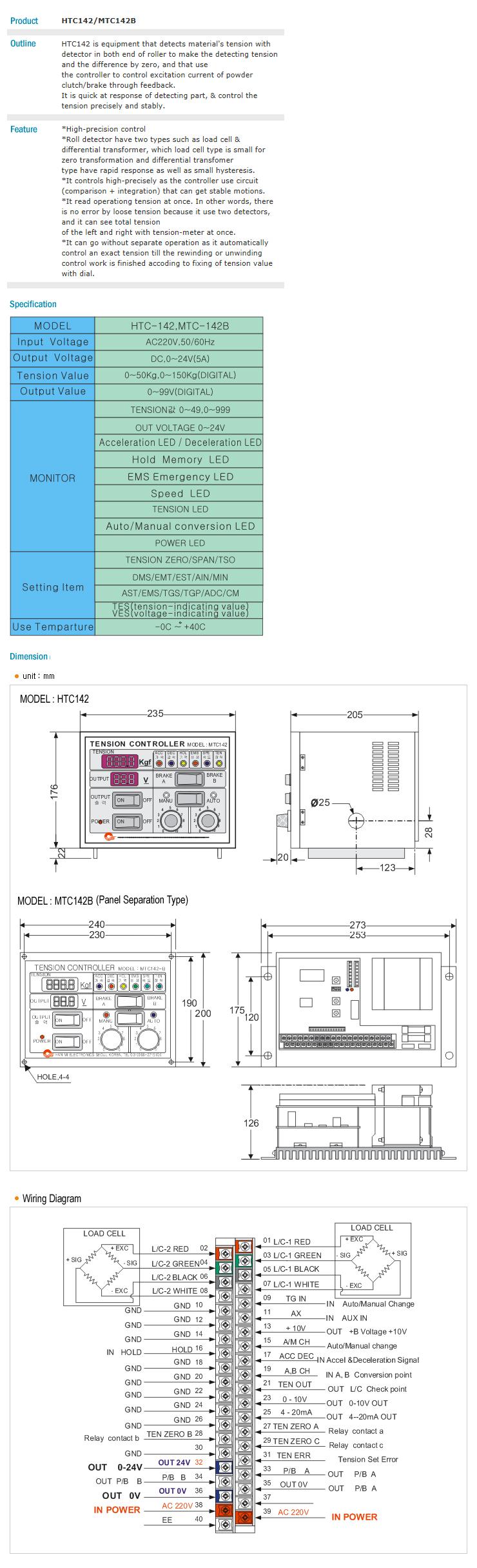 HANMI ELECTRONICS Auto Tension Control HTC142, MTC142B