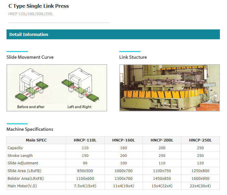 J&H PRESS General-Purpose Press : C Type Single Link Press HNCP Series