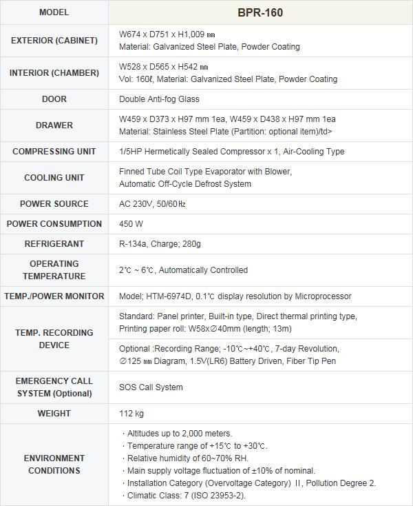 HANSHIN MEDICAL Blood & Pharmaceutical Refrigerator (160 liters) BPR-160 2