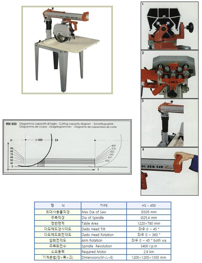 한신목공기계 라디알만능톱기계 HS-450