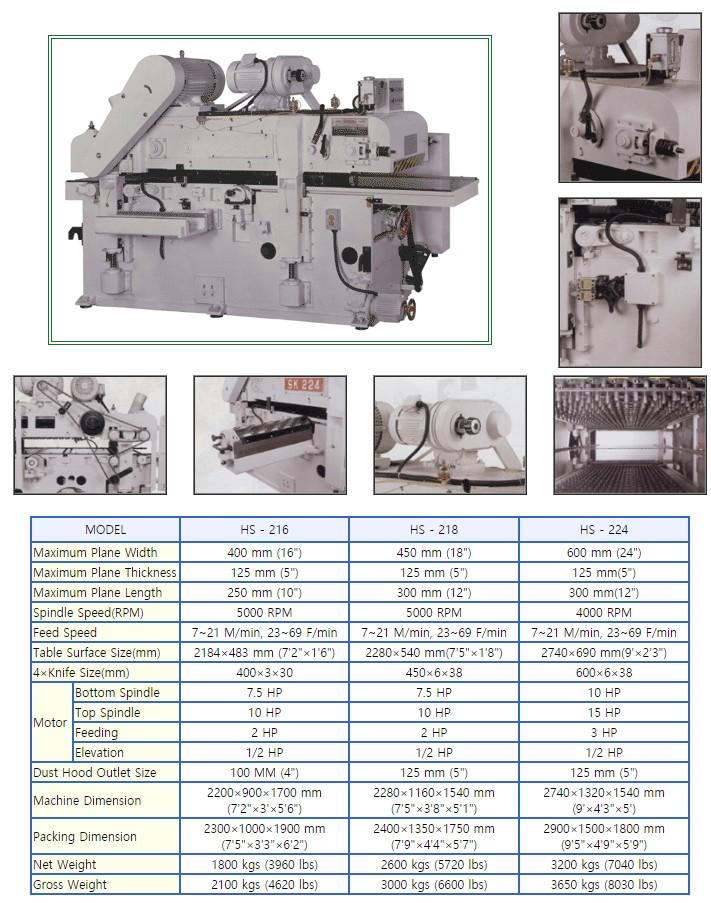 한신목공기계 자동이면대패기계 HS-series