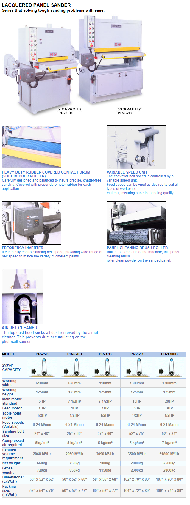 한신목공기계 와이드벨트샌더기계 PRB-series
