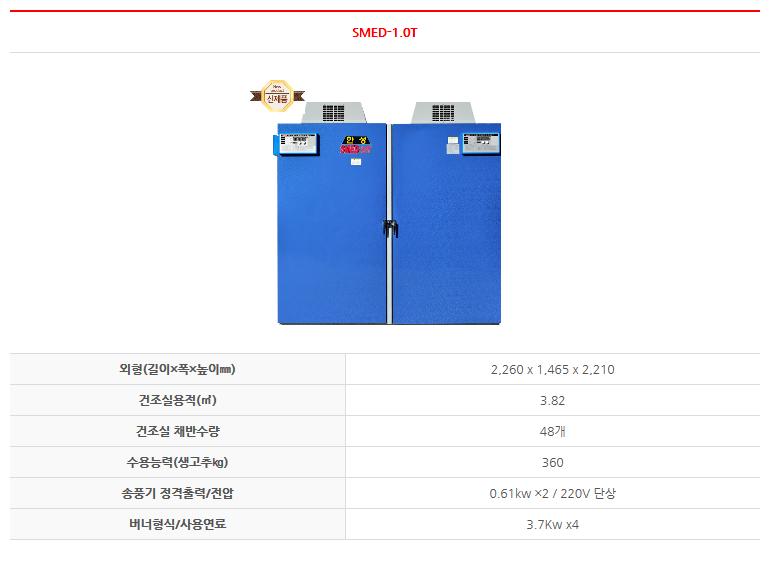 한성 전기식 터보 건조기 SMED-1.0T 1