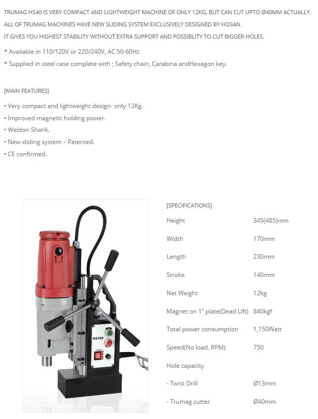 HOSAN TECH Magnetic Drilling Machine Trumag HS40