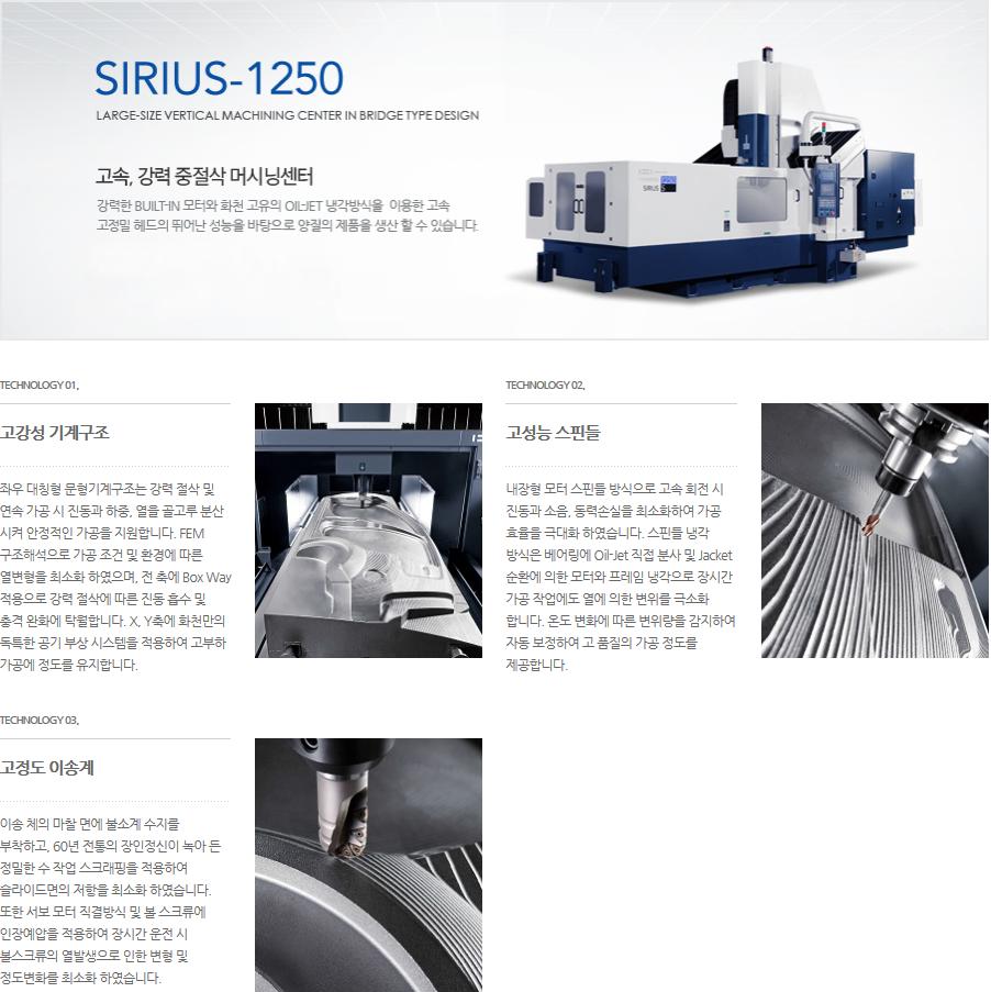 화천 고속, 강력 중절삭 대형 머시닝센터 SIRIUS-1250 5