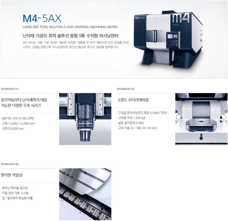 화천 중형 5축 수직형 머시닝센터 M4-5AX 3