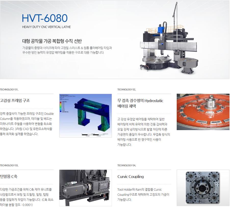 화천 대형 공작물 가공 복합형 수직 선반 HVT-6080T(M) 2