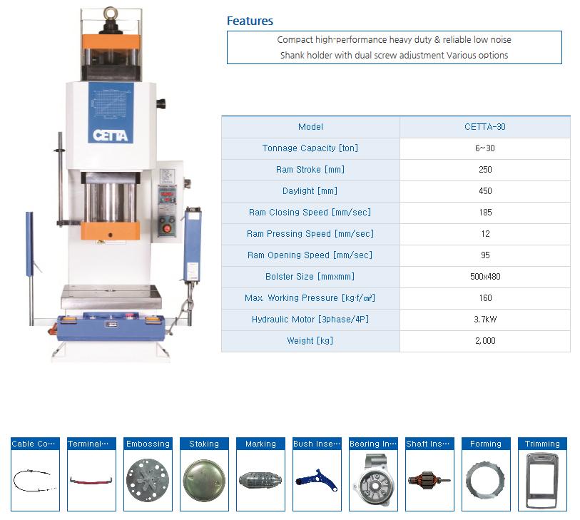 HYUNDAE MECHANIC AND ELECTRONIC Bench Type Hydraulic Press (30 Ton) CETTA-30