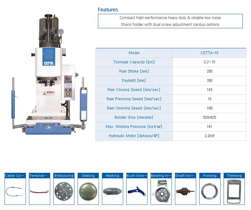 HYUNDAE MECHANIC AND ELECTRONIC Bench Type Hydraulic Press (15 Ton) CETTA-15