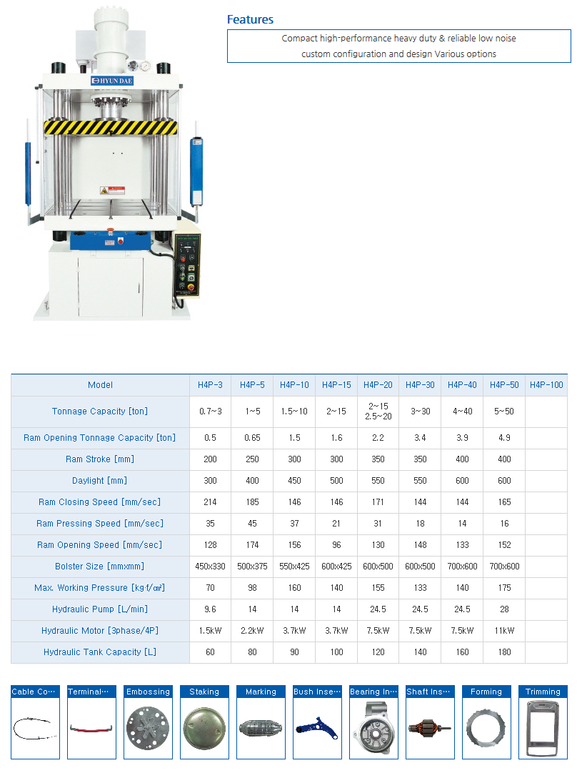 HYUNDAE MECHANIC AND ELECTRONIC 4-Post Hydraulic Press H4P-Series
