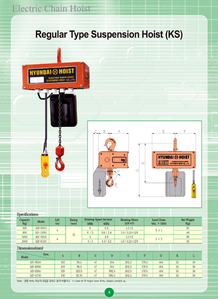 HYUNDAI HOIST Regular Type Suspension Hoist KS Type 1