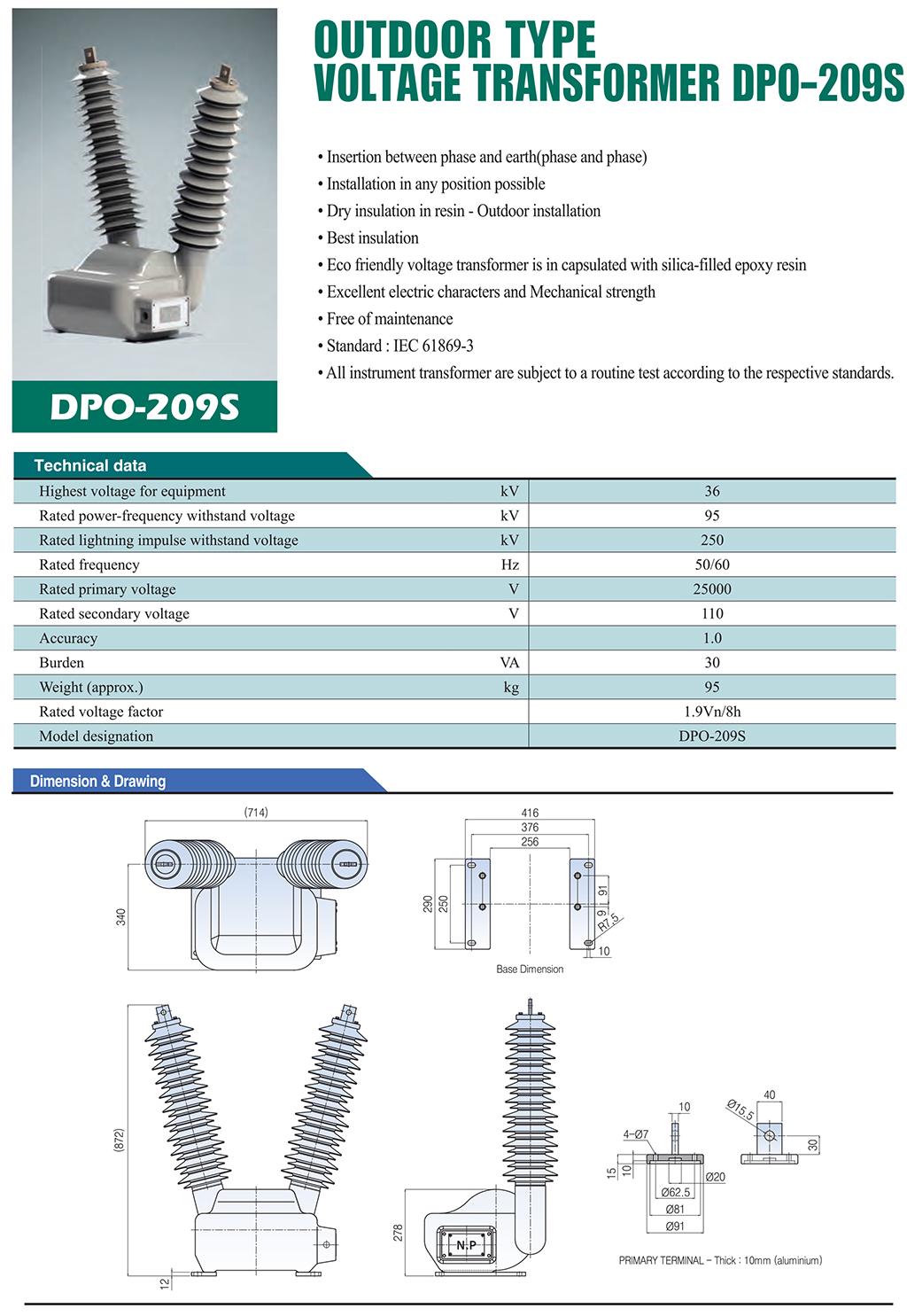 DONGWOO Outdoor type VT DPO-209S
