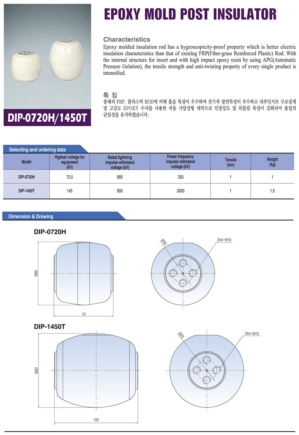 DONGWOO Epoxy Mold Post Insulator DIP-0720H/1450T