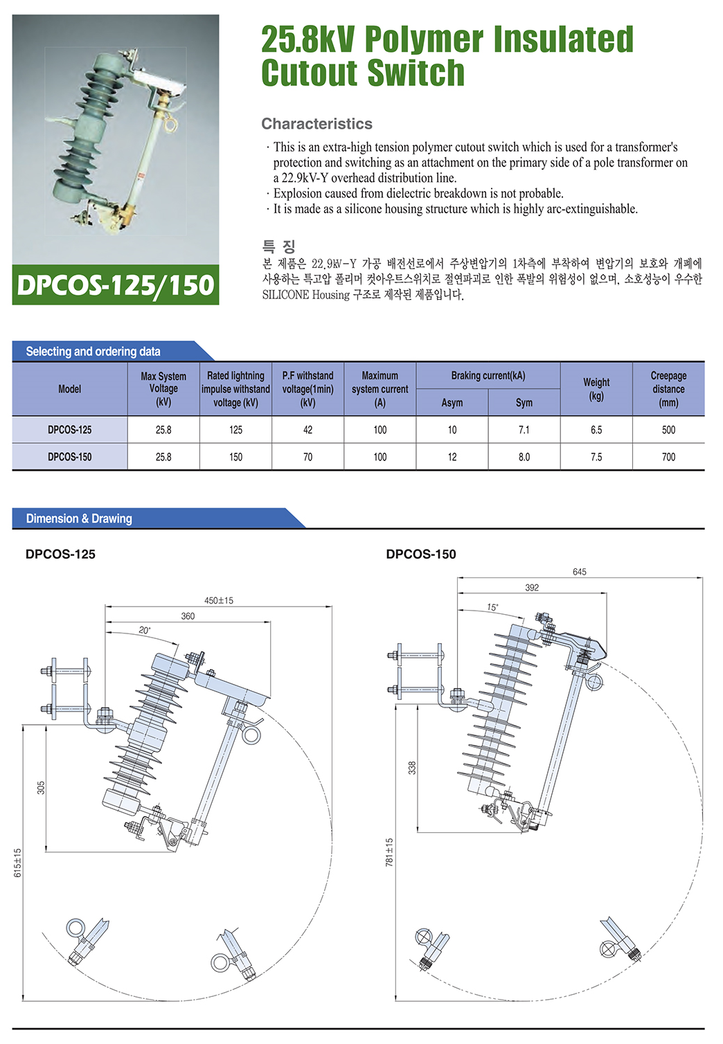 DONGWOO 25.8kV Polymer Insulated COS DAI-2000KR8/2000KR9/2000KR