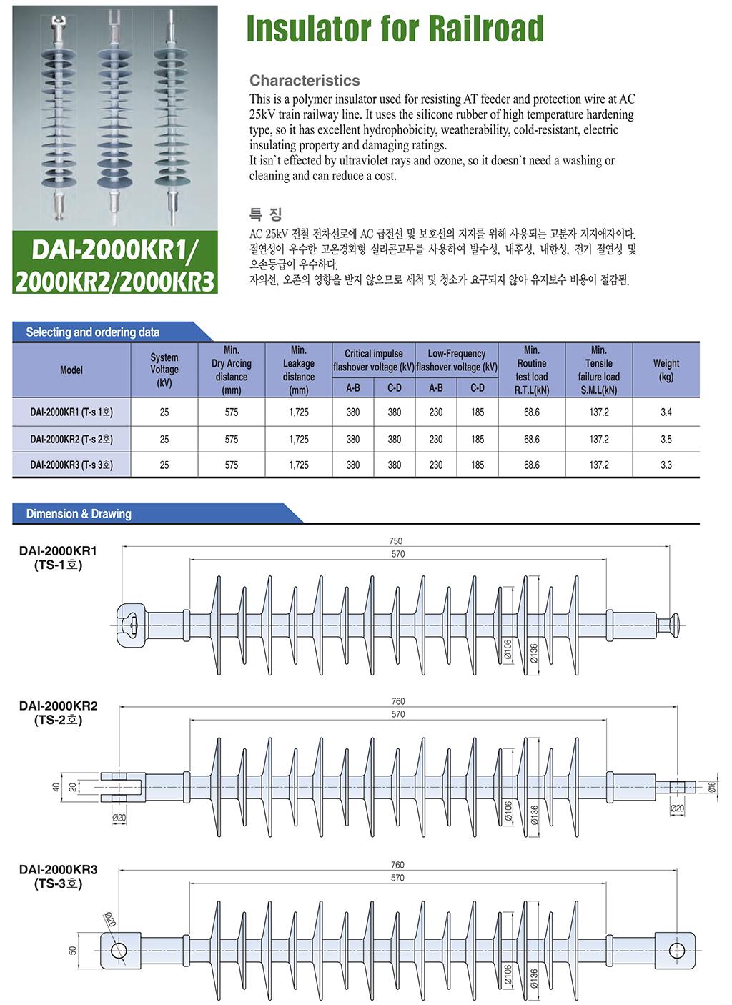 DONGWOO Insulator for Railroad DAI-2000KR1/2000KR2/2000KR3