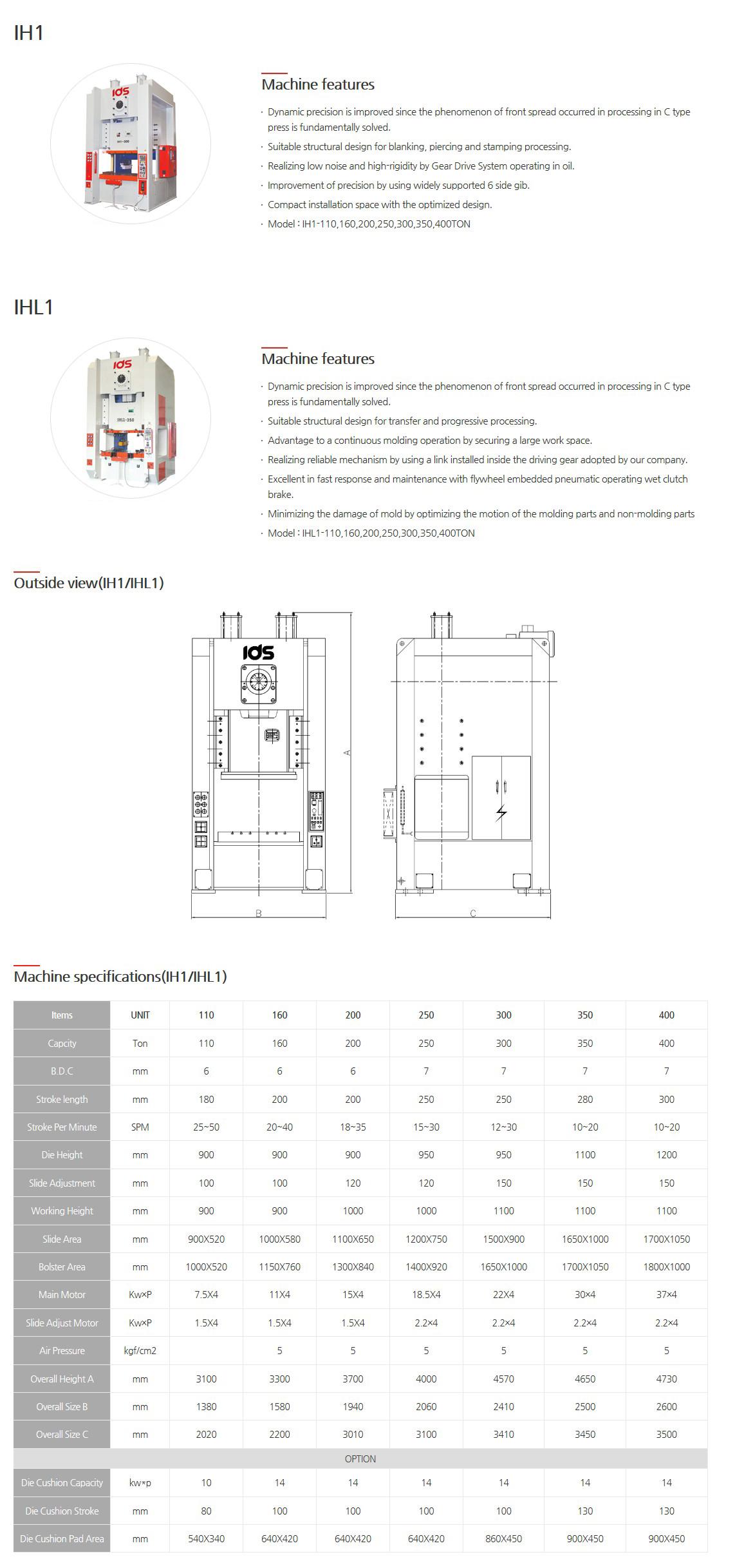 IDS PRESS Mechanical Presses (Semi-H Type Press) IH1, IHL1