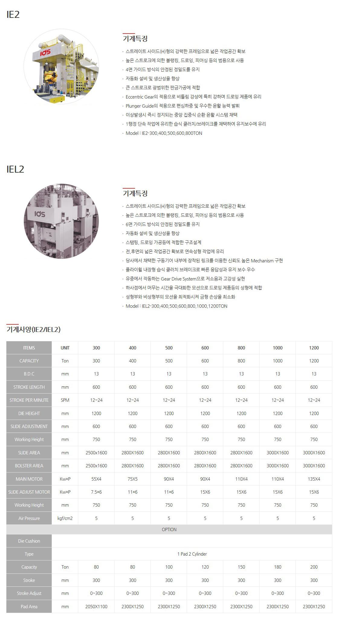 (주)아이디에스 기계식프레스 (H-Type Crankless Press) IE2, IEL2 1