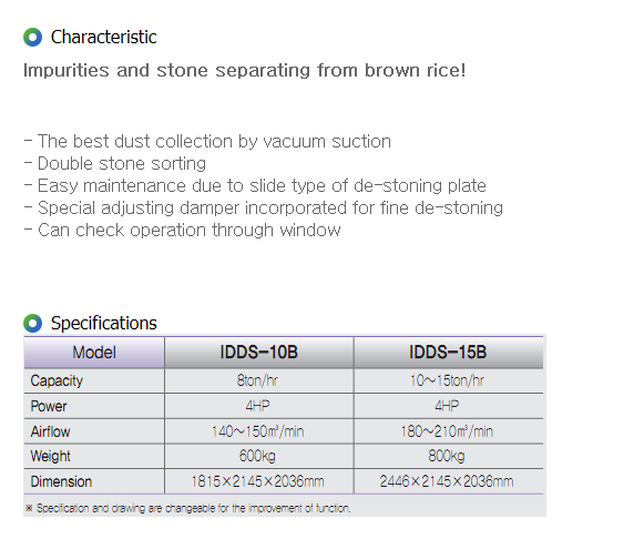 IGSP Brown Rice Vacuum Stone Sorter IDCB-10B, IDDS-15B