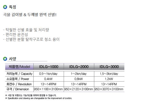 아이지에스피 등급선별기 IDLG-Series