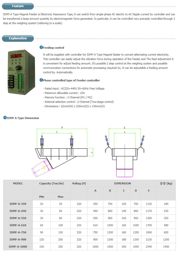 ILDONG IMC Large Capacity Magnet Feeder A Type IDMF-A