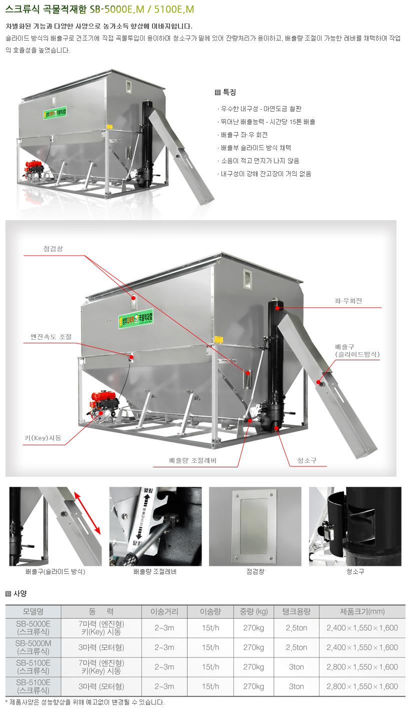성부산업 스크류식 곡물적재함 SB-5000E.M / 5100E.M 1